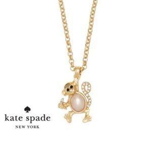 Kate Spade gold necklace w mini monkey pendant